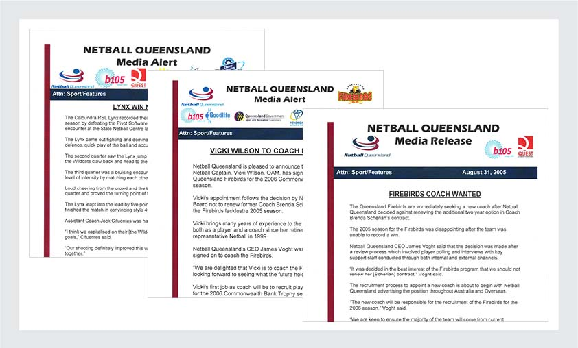 Netball Queensland Portfolio | Irene Watt | Marketing & Communications | Brisbane | Australia
